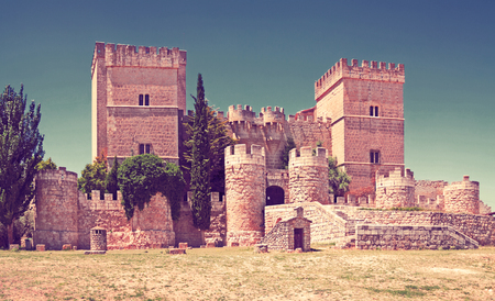 General view of castle of  Ampudia.   Province of Palencia,   Spain