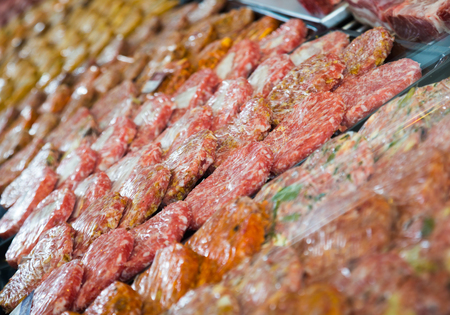 counter with assort of burger, close up shot local focus