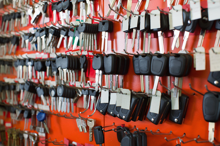 Huge range of car key duplicates at display in locksmith