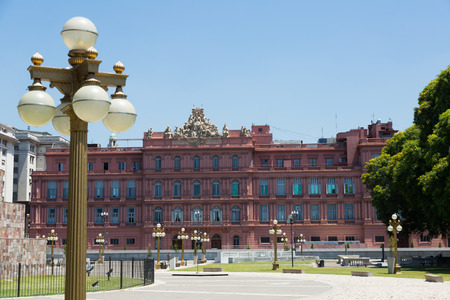 Casa Rosada building is official residence of President of Argentina, located in center of Buenos Aires. Argentina, South America