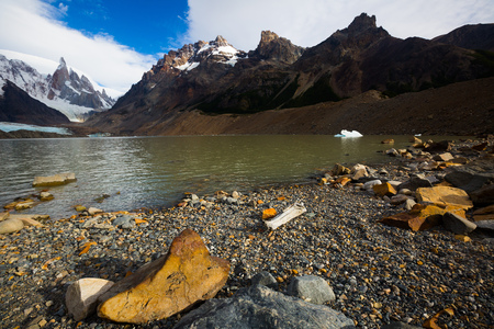 Lake near mountains of Cerro Torre, Fitz Roy in summer day, Santa Cruz, Argentina, South America