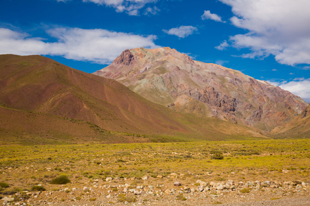 View on the Andean Mountains from valley near Las Lenas in Argentina