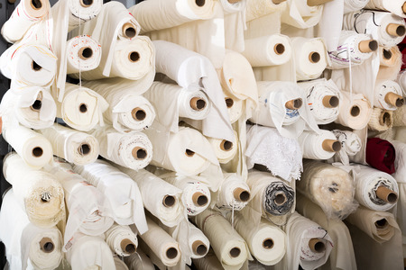 mass storage: The picture of skeins of different materials in textile shop Stock Photo