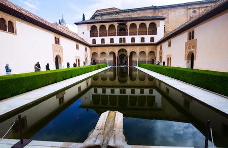GRANADA, SPAIN - MAY 13, 2016: Court of the Myrtles   in day time at Alhambra