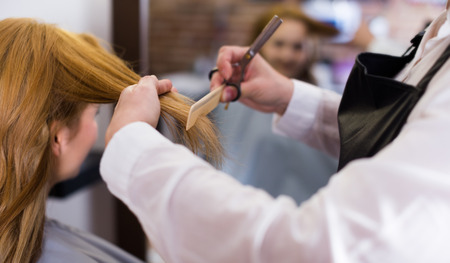 Hairdressing cutting and leveling hair to young blonde girl by means of scissors and hairbrush in salon. Stock Photo