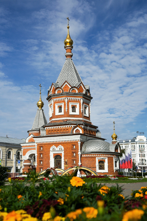 YAROSLAVL, RUSSIA - AUGUST 29, 2016: Beautiful Saint Alexander Nevsky Chapel at summertime in Yaroslavl, Russia