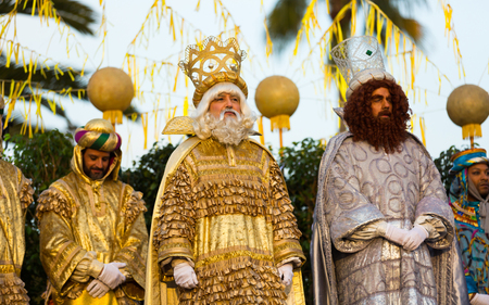 BARCELONA, SPAIN – JANUARY 5, 2017: Official ceremony of meeting Three Magi in port during festive celebration. Barcelona, Catalonia Editorial