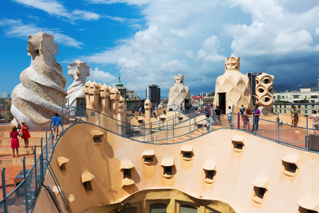 BARCELONA, SPAIN - JUNE 15, 2015: Casa Mila (La Pedrera)   in Barcelona, Catalonia.  House was built in 1905–1910 by Catalan architect Antoni Gaudi Editorial