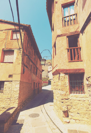 olden day: Narrow street of old town. Albarracin