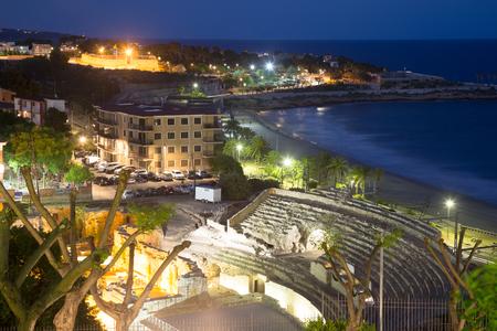 Ruin of Roman amphitheater at Tarragona  in night.   Spain