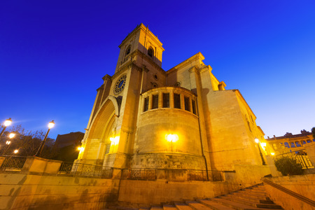 Wide angle shot of Cathedral  of San Juan de Albacete in early morning time Stock Photo