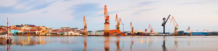 Panoramic  view of industrial port. Maliano, Spain