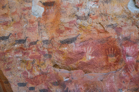 Famous series of caves Cueva de las Manos with paintings of hands in Argentina