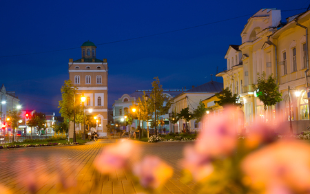 illuminated central square of russian provincial town Murom in evening Stock Photo