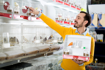 owning: Young happy man choosing pretty bird for keeping in pet shop
