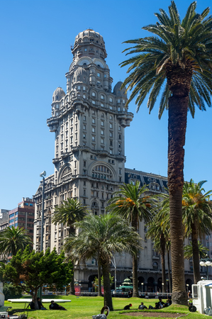 eclecticism: MONTEVIDEO, URUGUAY - FEBRUARY 19, 2017: Skyscraper Palacio Salvo in center of Montevideo. Montevideo, Uruguay, South America