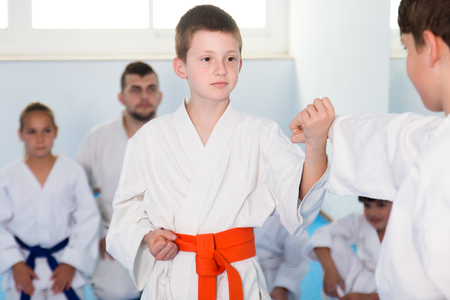 Smiling boys training in pair to use karate technique during class