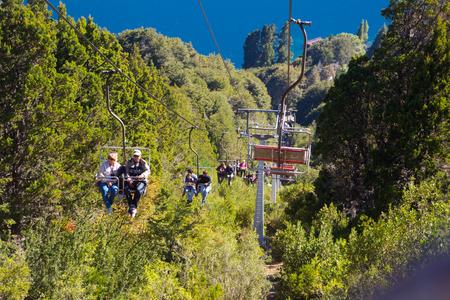 plateau: SAN CARLOS DE BARILOCHE, ARGENTINA - FEBRUARY 6, 2017: View from cableway to Cerro Campanario mountainside, bay, lake and peninsula. Bariloche, Patagonia, Argentina Editorial