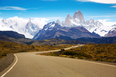 Highway leading to Fitz Roy and Cerro Torre mountains of Andes, Santa Cruz, Patagonia, Argentina Stock Photo