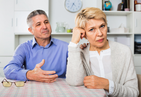 persuade: Elderly unhappy mature couple decide family matters and find out relationship in his house