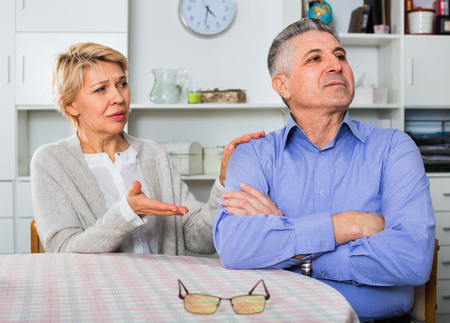 persuade: Elderly ordinary mature couple decide family matters and find out relationship in his house