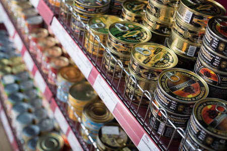 BARCELONA, SPAIN - FEBRUARY 02, 2016: Shelves with ordinary assortment of tinned and canned products in East European food store