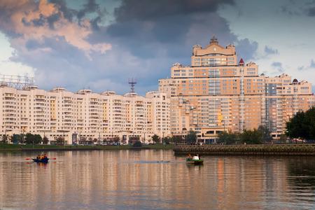 MINSK, BELARUS - SEPTEMBER 03, 2016: Large house in city center of Minsk, Belarus