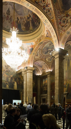 BARCELONA, SPAIN - APRIL 23, 2016: Interior of St. George Hall (Salon de San Jorge) in palace Generalitat de Catalunya. Built in XVI-XVII century. Barcelona, Spain