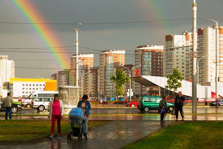 occurrence: MINSK, BELARUS - SEPTEMBER 02, 2016: New residential area in southwest of Minsk, Minsk, Belarus