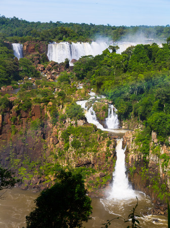 noteworthy: Cataratas del Iguazu Waterfall on Iguazu River in National Park, Parana, Brazil Stock Photo