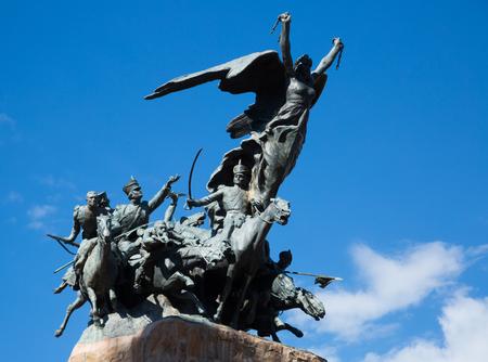 Monument near mountain Cerro de la Gloria in city park of Mendoza. Mendoza, Argentina, Patagonia, South America Stock Photo