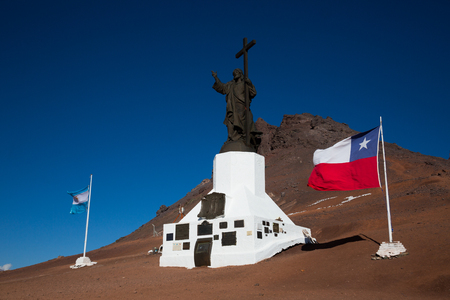 Monument of Christ Redeemer near mountain pass Paso Los Libertadores, border of Argentina and Chile