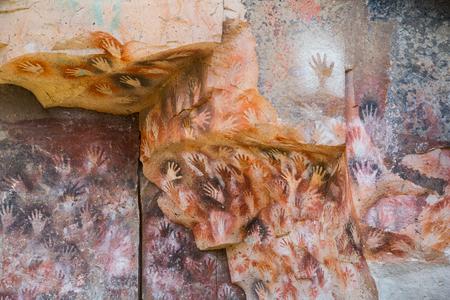 Cave paintings in caves of Cueva de las Manos, Santa Cruz Province, Patagonia, Argentina, South America