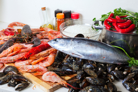fresh raw marine products and  seasonings at home kitchen