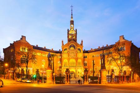 Facade of Hospital de Sant Pau in sunset. Barcelona, Spain