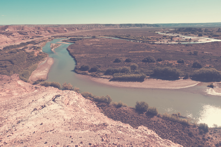 indios: View of valley of river in Paso de Indios on summer day, Patagonia, Argentina Stock Photo