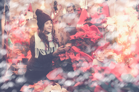 festal: Portrait of attractive female teenage customer choosing poinsettia decorations for Christmas outdoor