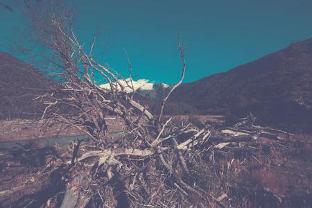 mount tronador: Cauquenes River view with snowy top of Tronador volcano at distance in Argentina