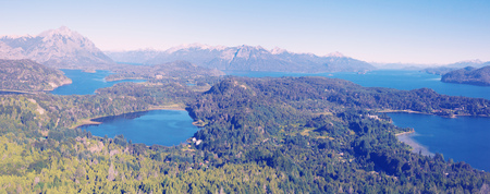 Top view on Lago Nahuel Huapi and Cerro Campanario in distance in Argentina Stock Photo