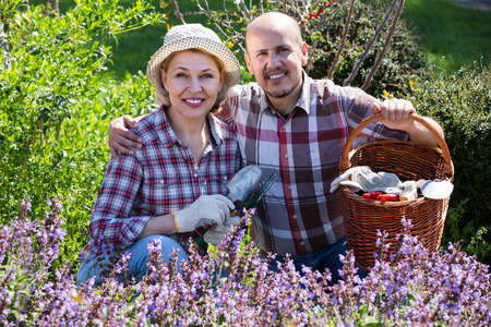 Portrait of joyful elderly couple taking care of flowers in the blossoming garden