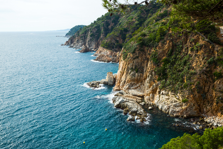 View on coastline of Costa Brava at sunny day in summer
