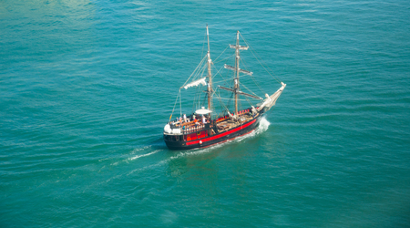 two-mast saiship fron aerial view in sunny day