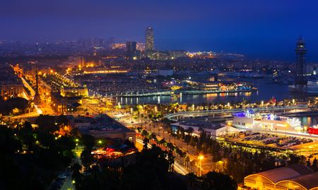 View to Port Vell of Barcelona in night time Stock Photo