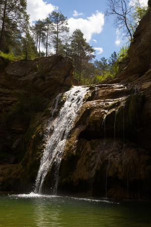 groundwater: Waterfall in Catalonia surrounded by beautiful forests and valleys
