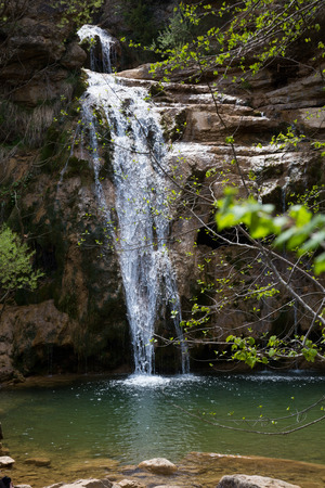groundwater: Pure mountain creek with green water attractive place in Spain