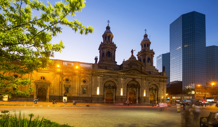 Plaza de Armas in Santiago in center of Chile capital in evening. Santiago, Chile, South America Stock Photo