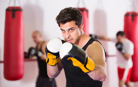 pugilist: collected sportsman in the boxing hall practicing boxing punches during training Stock Photo