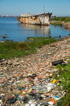 explanations: View of old destroyed part in port zone of Montevideo, La Plata Bay. Montevideo, Uruguay, Atlantic Ocean.