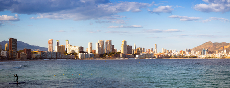 Panorama of seaside part of Benidorm in  day time. Spain