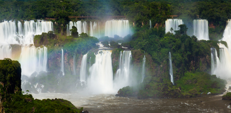 noteworthy: Complex of waterfalls (Cataratas del Iguazu) on Iguazu River on border of Brazil and Argentina